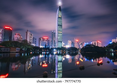 SHENZHEN, CHINA - Apr 11 2017: view on skyscraper Kingkey 100 from Lici park, Shenzhen, China