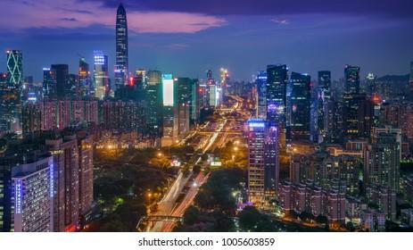 SHENZHEN, CHINA - Apr 19 2017: Panoramic view on cityscape Shenzhen, China