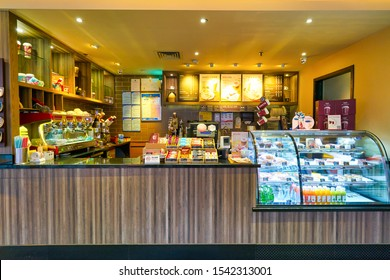 SHENZHEN, CHINA - APRIL 09, 2019: sales area at Costa Coffee in Shenzhen. Costa Coffee is a British multinational coffeehouse company.