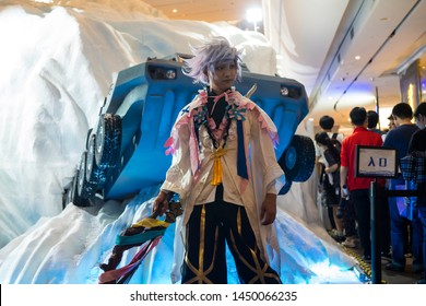 Shenzhen, China, April, 2019. Merlin cosplayer at Sony Expo 2019. Merlin means the Magus of Flowers. The vagrant of the paradise. It's a Caster-class Servant able to be summoned by Ritsuka Fujimaru.