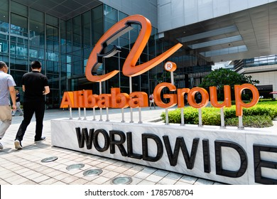 SHENZHEN, CHINA - AUGUST 08, 2019: Alibaba logo in the outside of office building. Alibaba Group Holding Limited is a Chinese e-commerce company founded in 1999 by Jack Ma. It serves worldwide.