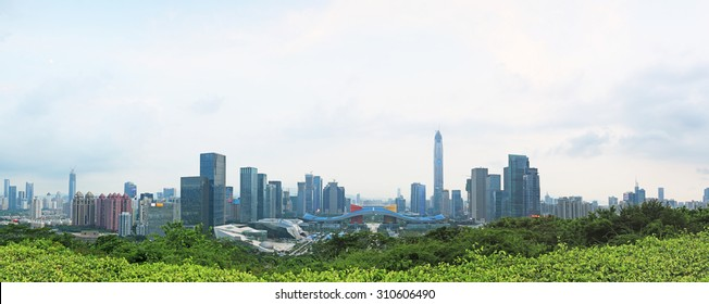 Shenzhen, China - August 27,2015: Shenzhen cityscape at sunset with the Civic Center and the Ping An IFC on foreground