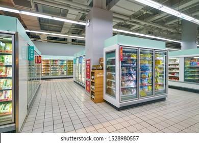SHENZHEN, CHINA - CIRCA APRIL, 2019: interior shot of Carrefour Le Marche supermarket in Shenzhen.