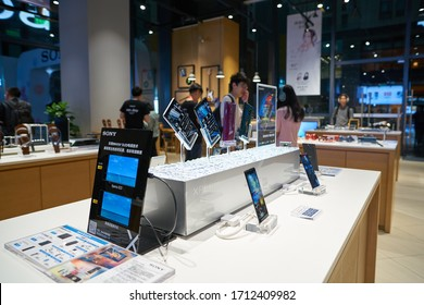 SHENZHEN, CHINA - CIRCA APRIL, 2019: smartphones on display in Sony Store at UpperHills during Sony Expo 2019.