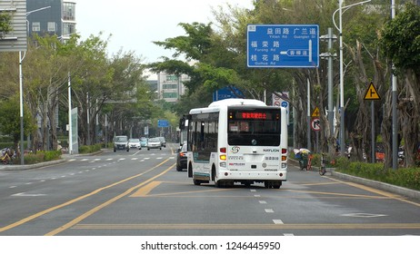 SHENZHEN, CHINA - CIRCA NOVEMBER 2018 : Electricity SELF DRIVING BUS on the test run at the public road in Futian district.