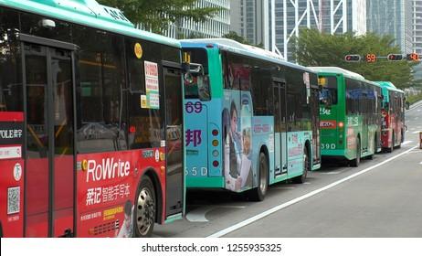 SHENZHEN, CHINA - CIRCA NOVEMBER 2018 : ELECTRIC BUS running in Shenzhen.
