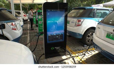 SHENZHEN, CHINA - CIRCA NOVEMBER 2018 : ELECTRIC VEHICLE CHARGING STATION produced by Shenzhen Busbar Sci-Tech Development CO.,LTD (Ebusbar).