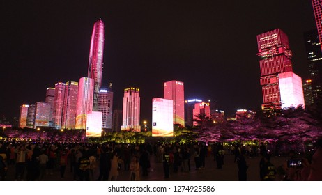 SHENZHEN, CHINA - CIRCA NOVEMBER 2018 : View of building LED LIGHT UP SHOW at FUTIAN CENTRAL BUSINESS DISTRICT.  View from near CIVIC CENTER metro station.