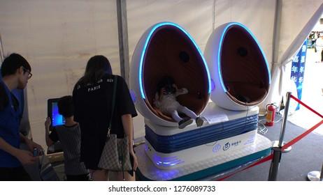 SHENZHEN, CHINA - CIRCA NOVEMBER 2018 : People enjoying VR ATTRACTION in Huaqiangbei area.