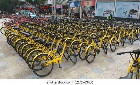 SHENZHEN, CHINA - CIRCA NOVEMBER 2018 : OFO SHARE BIKE at the street near Laojie metro station.
