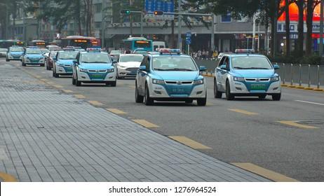 SHENZHEN, CHINA - CIRCA NOVEMBER 2018 : ELECTRIC VEHICLE TAXI running in Shenzhen.