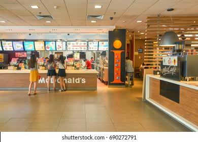 SHENZHEN, CHINA - CIRCA OCTOBER, 2015: inside McDonald's restaurant in Shenzhen. McDonald's is an American hamburger and fast food restaurant chain.