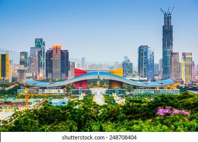 Shenzhen, China city skyline in the civic center district.