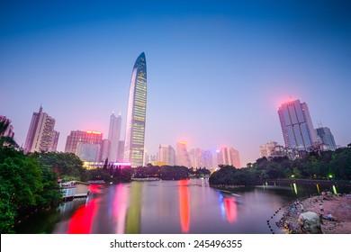 Shenzhen, China city skyline at Lychee Park.