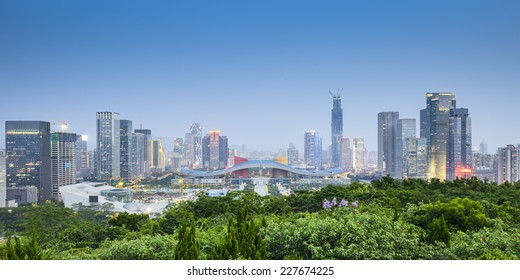 Shenzhen, China civic center city skyline.