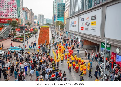 Shenzhen, China - Feb 21, 2019: View of Nine Square shopping mall in Shenzhen, China.