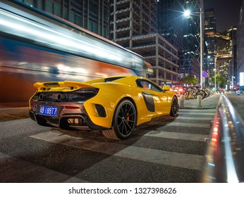 """Shenzhen, China - Feb 28, 2019: Mclaren 675 LT Spider, the convertible version of the company's top-of-the-line """"longtail"""" sports car."""