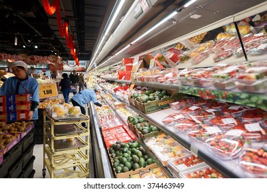 """SHENZHEN, CHINA - FEBRUARY 05, 2016: interior of a JUSCO store. JUSCO is the acronym for Japan United Stores Company, a chain of """"general merchandise stores"""" and the largest of its type in Japan."""
