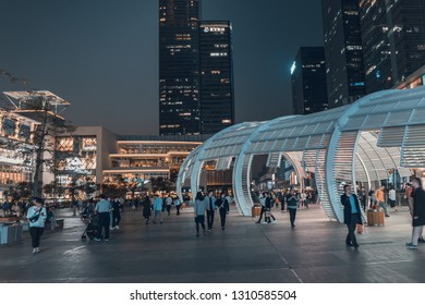 ShenZhen, China, Jan 31, 2019: Shenzhen Bay Ave. at nighttime. Shenzhen Bay ave is a famous place for retail shopping, dining and leisure destination located in downtown Nanshan District