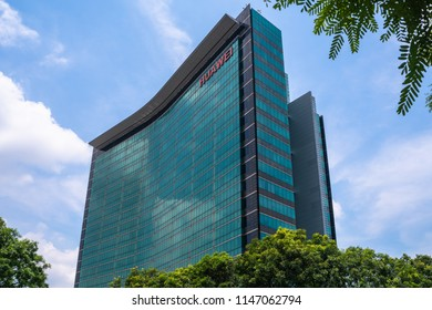 Shenzhen, China - July 22, 2018 - Skyscraper of the R&D building of Huawei Headquarters in Longgang District of Shenzhen  Guangdong Province, China. A multinational networking and telecommunications e