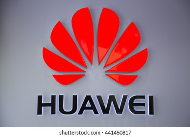 Shenzhen, China - Jun 13, 2016: Close up of the logo of Huawei Technologies Company at an authorised mobile phone shop in Shenzhen city. The Chinese multinational company headquartered in Guangdong.