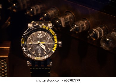 Shenzhen, China – June 22, 2017: The Vostok watches on display during the 2017 International Watch & Clock Fair/China in Shenzhen, Guangdong, China. Soviet Union military watch.