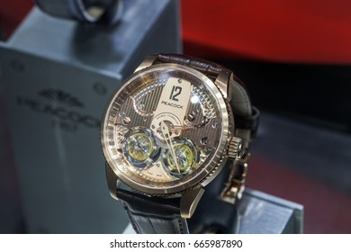Shenzhen, China – June 22, 2017: The Peacock Watch on display during the 2017 International Watch & Clock Fair/China in Shenzhen, Guangdong, China.