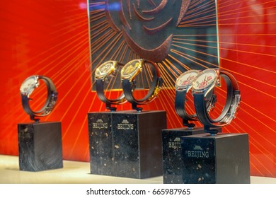 Shenzhen, China – June 22, 2017: The BEIJING Watch Booth on display during the 2017 International Watch & Clock Fair/China in Shenzhen, Guangdong, China. One of the oldest Chinese brands of watch.