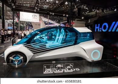 Shenzhen, China - June 6, 2017: The Toyota FCV Plus on display during the 2017 Shenzhen-HongKong-Macao International Auto Show in Shenzhen, Guangdong, China.