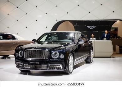 Shenzhen, China – June 6, 2017: The Bentley Mulsanne EWB on display during the 2017 Shenzhen-HongKong-Macao International Auto Show in Shenzhen, Guangdong, China