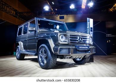 Shenzhen, China – June 6, 2017: The Mercedes-Benz G500 Premium Edition on display during the 2017 Shenzhen-HongKong-Macao International Auto Show in Shenzhen, Guangdong, China.