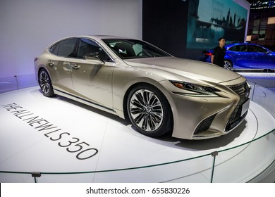 Shenzhen, China – June 6, 2017: The 2018 Lexus LS 350 has made its official debut at the 2017 Shenzhen-Hong Kong-Macao International Auto Show in Shenzhen, Guangdong, China