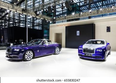 Shenzhen, China – June 6, 2017: The Rolls-royce phantom and the Rolls-royce dawn on display during the 2017 Shenzhen-HongKong-Macao International Auto Show in Shenzhen, Guangdong, China.