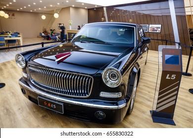 Shenzhen, China – June 6, 2017: The Hongqi L5 on display during the 2017 Shenzhen-HongKong-Macao International Auto Show in Shenzhen, Guangdong, China.