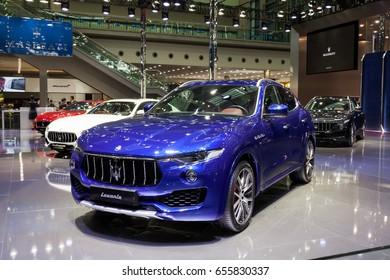 Shenzhen, China – June 6, 2017: The Maserati Levante on display during the 2017 Shenzhen-HongKong-Macao International Auto Show in Shenzhen, Guangdong, China.