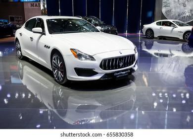 Shenzhen, China – June 6, 2017: The Maserati Quattroporte on display during the 2017 Shenzhen-HongKong-Macao International Auto Show in Shenzhen, Guangdong, China.