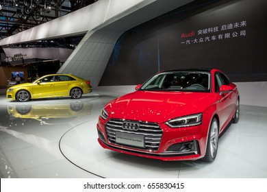 Shenzhen, China – June 6, 2017: The New Audi A5 Sportback and New Audi A3 Limousine on display during the 2017 Shenzhen-HongKong-Macao International Auto Show in Shenzhen, Guangdong, China.