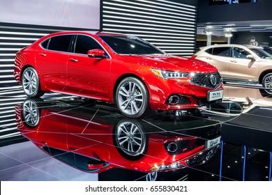 Shenzhen, China - June 6, 2017: The Acura TLX-L on display during the 2017 Shenzhen-HongKong-Macao International Auto Show in Shenzhen, Guangdong, China
