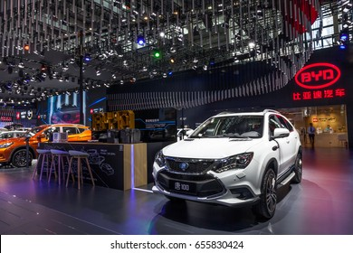 Shenzhen, China – June 6, 2017: The BYD  plug-in hybrid sport SUV Tang 100 on display during the 2017 Shenzhen-HongKong-Macao International Auto Show in Shenzhen, Guangdong, China.
