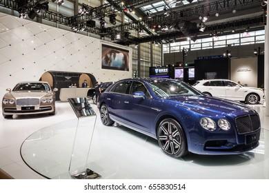 Shenzhen, China – June 6, 2017: The Bentley Continental Flying Spur on display during the 2017 Shenzhen-HongKong-Macao International Auto Show in Shenzhen, Guangdong, China