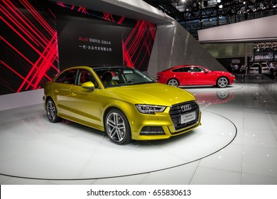 Shenzhen, China – June 6, 2017: The New Audi A3 Limousine and New Audi A5 Sportback on display during the 2017 Shenzhen-HongKong-Macao International Auto Show in Shenzhen, Guangdong, China.