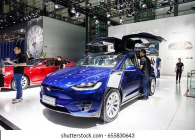 Shenzhen, China – June 6, 2017: The Tesla Model X on display during the 2017 Shenzhen-HongKong-Macao International Auto Show in Shenzhen, Guangdong, China.