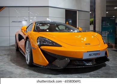 Shenzhen, China – June 6, 2017: The McLaren 570S on display during the 2017 Shenzhen-HongKong-Macao International Auto Show in Shenzhen, Guangdong, China