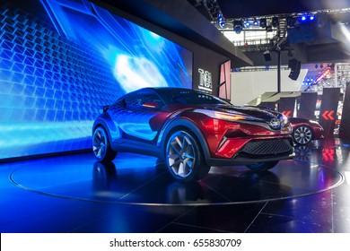 Shenzhen, China - June 6, 2017: The Toyota New Global Architecture concept car WAY on display during the 2017 Shenzhen-HongKong-Macao International Auto Show in Shenzhen, Guangdong, China.
