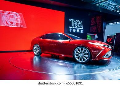 Shenzhen, China - June 6, 2017: The Toyota New Global Architecture concept car FUN on display during the 2017 Shenzhen-HongKong-Macao International Auto Show in Shenzhen, Guangdong, China.
