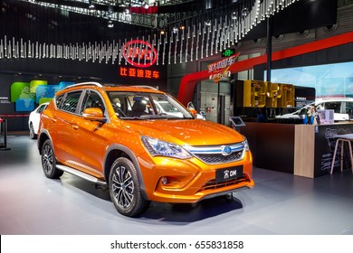 Shenzhen, China – June 6, 2017: The hybrid plug-in of BYD Song SUV on display during the 2017 Shenzhen-HongKong-Macao International Auto Show in Shenzhen, China.