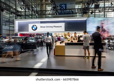 Shenzhen, China – June 6, 2017: The BMW Auto Booth on display during the 2017 Shenzhen-HongKong-Macao International Auto Show in Shenzhen, Guangdong, China.