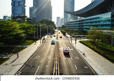 Shenzhen, China - March 2018: New developed city with so implementation of technology advancement and urban livelihood design. Design from the axis and likelihood following the sun path.
