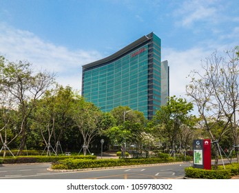 Shenzhen, China - March 25, 2018 - Skyscraper of the R&D building of Huawei Headquarters in Longgang District of Shenzhen city, Guangdong Province, China.