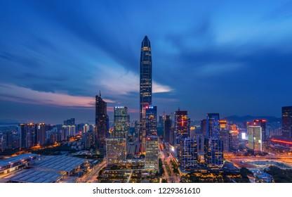 Shenzhen, CHINA - May 1 2018.Beautiful wide-angle night aerial view of Shenzhen financial district, Guangdong, China.Financial concept